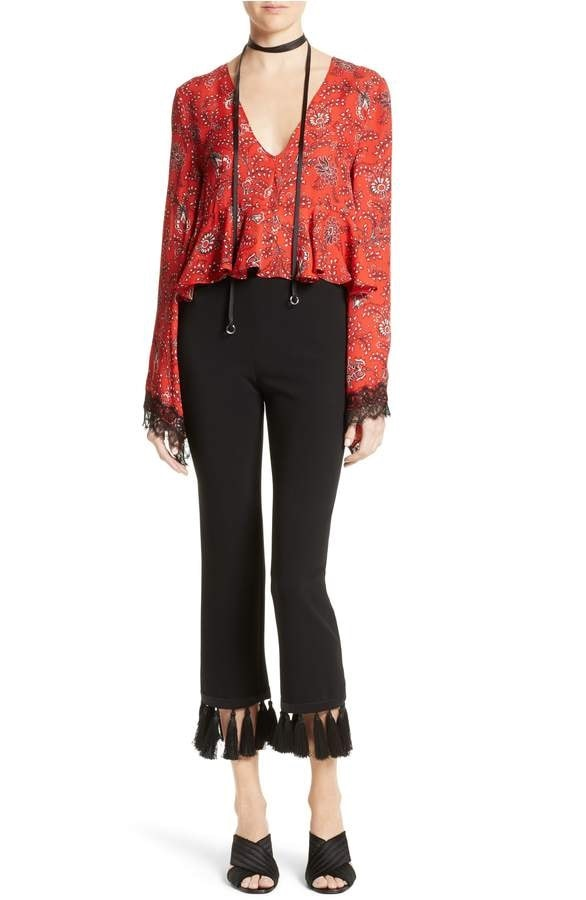 transition to spring fashion, cinq a sept black tassel pants, print blouse