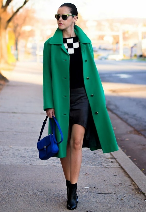 transition to spring wardrobe for women, green coat, navy dress and navy boots