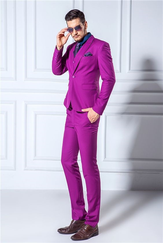 3 Key Pieces that Change Your Look, men's colorful suit, men's purple suit with blue button down shirt