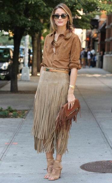SXSW outfit, Olivia Palermo suede fringe skirt and clutch with suede blouse