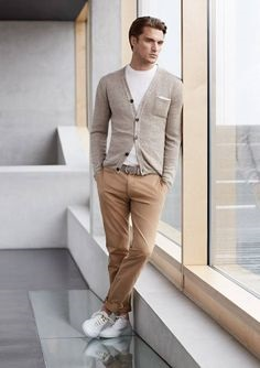 men's spring shoe trends 2018, the updated sneaker, white suede snaker, gray cardigan and neutral pants