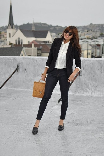 Commuter shoes...smart loafers, black blazer, black pants, black loafers and white blouse