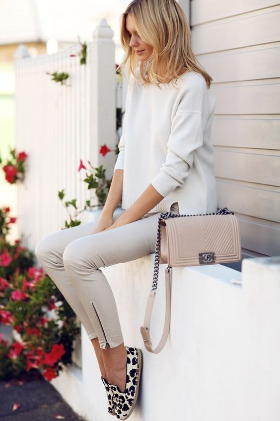 Spring Shoe Trends for women, espadrilles, leopard espadrilles with neutral top and zipper ankle pants