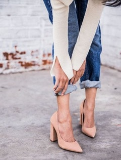 Spring Shoe Trends for women, the updated spring pump, distressed jeans and nude chunky heel pumps