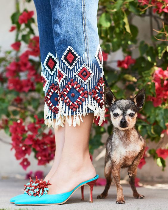 Spring Shoe Trends for women, the mule, Manolo Blahnik Vorga Embellished Linen Mule with embellished fringe jeans