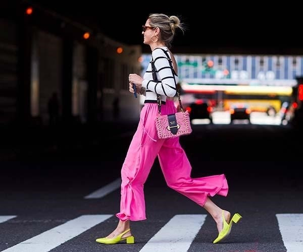 Spring Shoe Trends, low heels, kitten heels, striped shirt, pink pants, and yellow shoes