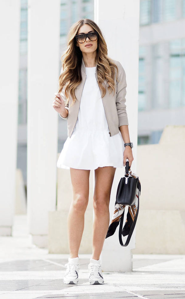 Spring Shoe Trends, trainers, beige bomber jacket, white short dress and white trainers