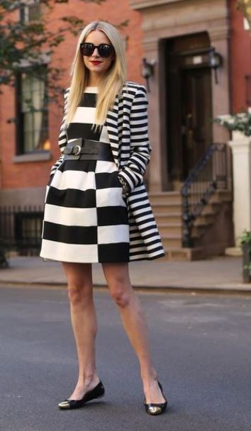 commuter shoes for women, ballet flats, Blair Eadie black and white striped dress, striped blazer, and ballet flats