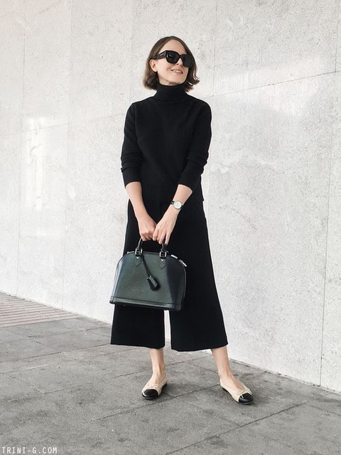 commuter shoes for women, ballet flats, black wide leg pants, black sweater, and cap toe flats