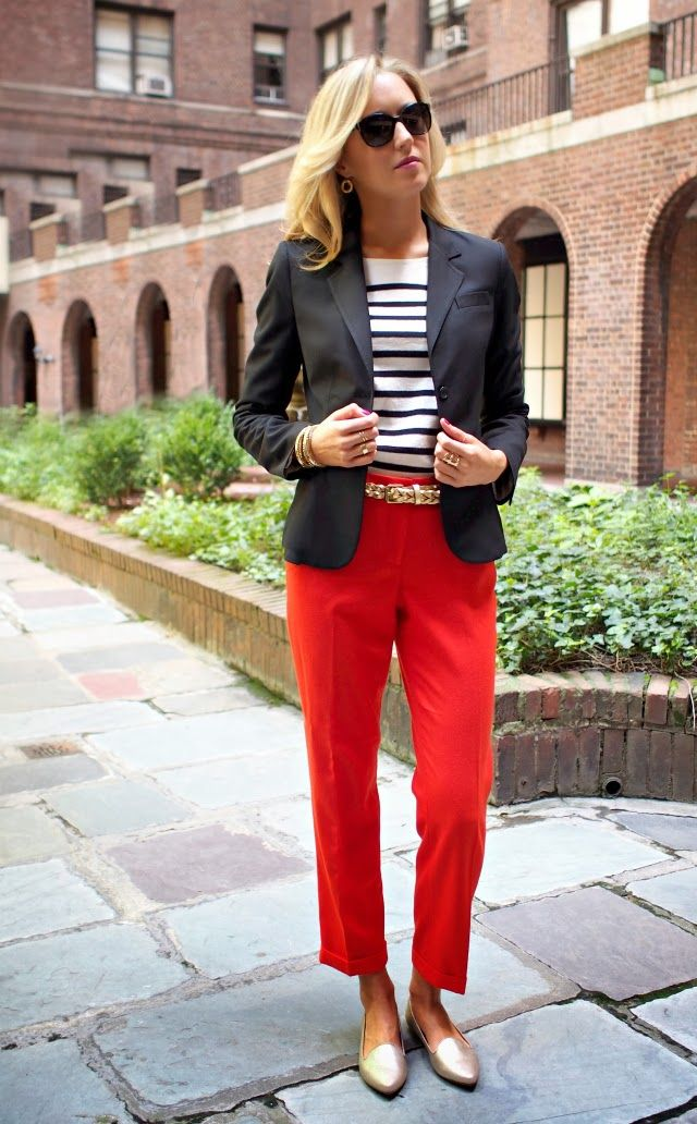 commuter shoes for women, ballet flats, women's red pants, navy blazer, striped sweater and gold flats with belt