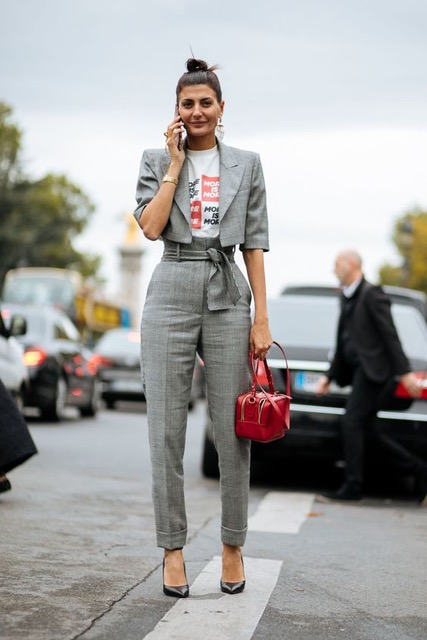 7 Things You Shouldn't Have in Your Closet After 30, boring suit, gray suit with cropped jacket