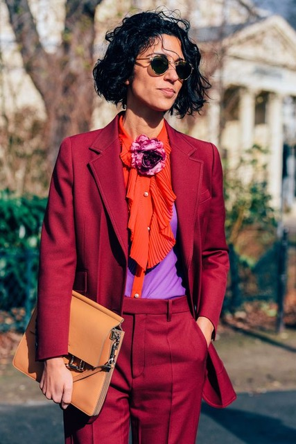 7 Things You Shouldn't Have in Your Closet After 30, boring suit, maroon suit with colored blouse