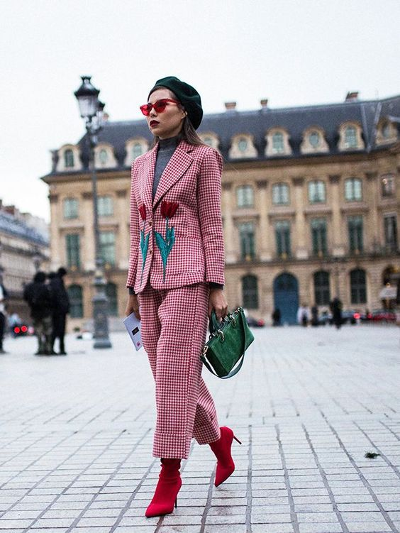 7 Things You Shouldn't Have in Your Closet After 30, boring suit, women's red plaid suit with florals
