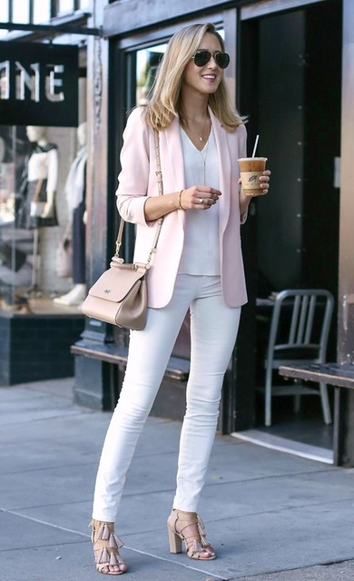 7 Things You Shouldn't Have in Your Closet After 30, ill-fitting clothing, white jeans, pink blazer