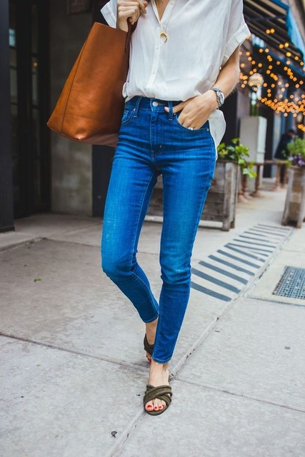 7 Things You Shouldn't Have in Your Closet After 30, low-rise denim, women's high-waisted jeans and cream blouse