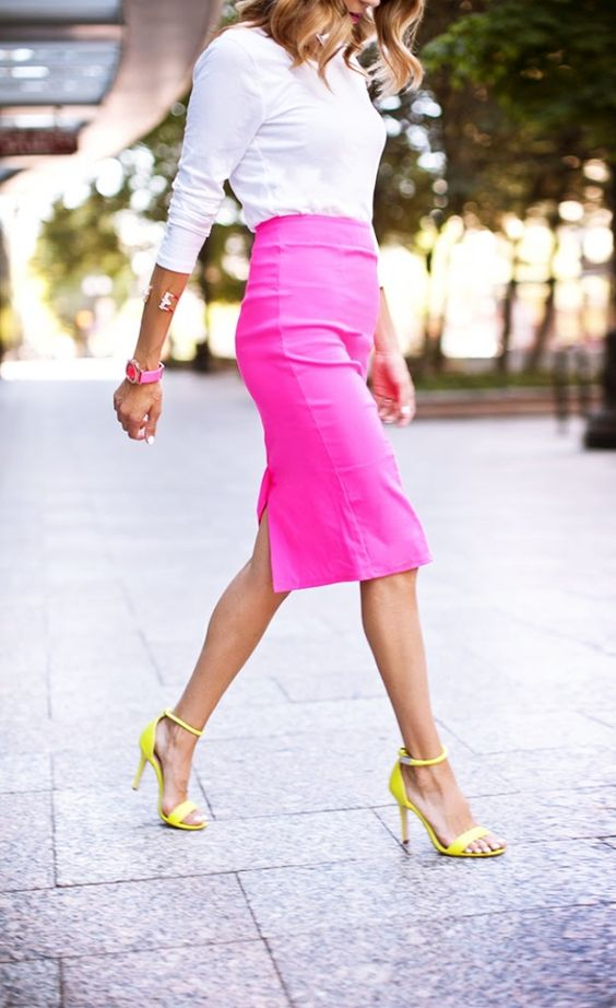 7 Things You Shouldn't Have in Your Closet After 30, mini-skirt, pink pencil skirt, white top, yellow high heels