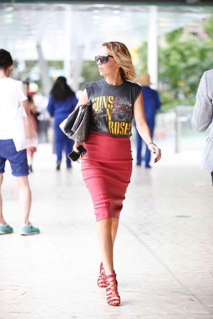7 Things You Shouldn't Have in Your Closet After 30, novelty tee, rocker graphic tee, pink skirt, pink high heel sandals
