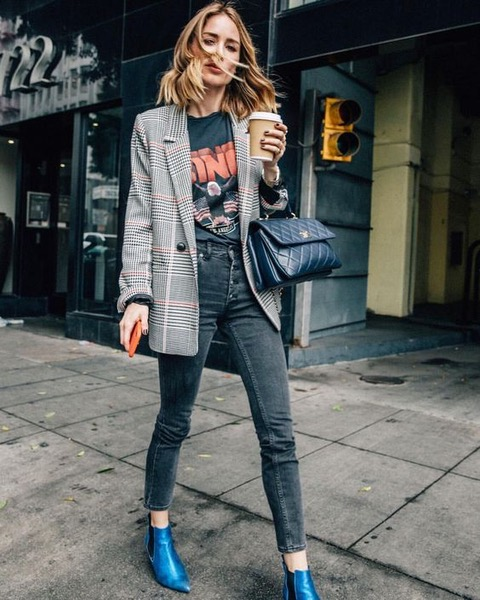 7 Things You Shouldn't Have in Your Closet After 30, novelty tee, rocker graphic tee, plaid blazer, black jeans