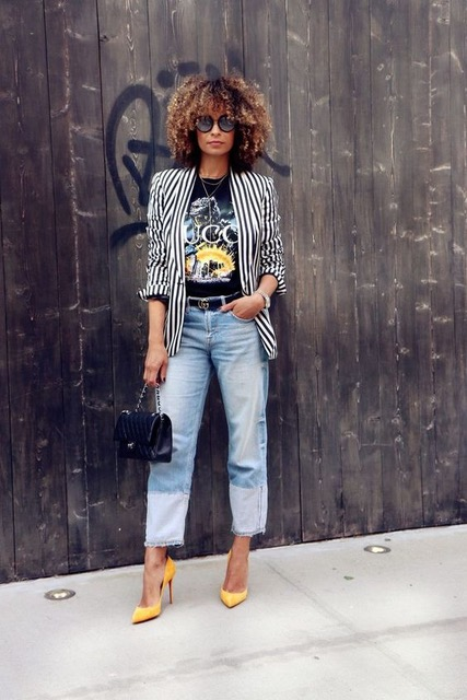 7 Things You Shouldn't Have in Your Closet After 30, novelty tee, striped blazer, graphic tee, jeans, yellow heels