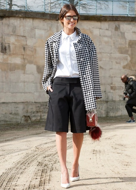 7 things you shouldn't wear after 30, short shorts, black and white striped blazer, black shorts