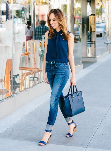 7 Things You Shouldn't Have in Your Closet after 30, low rise denim, denim and navy top