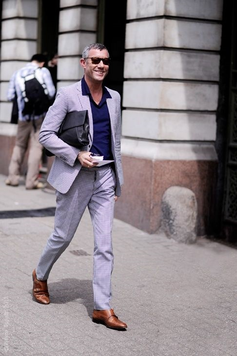 Men's Spring Suiting + Print Button Down, blue suit with navy popover and monk strap shoes