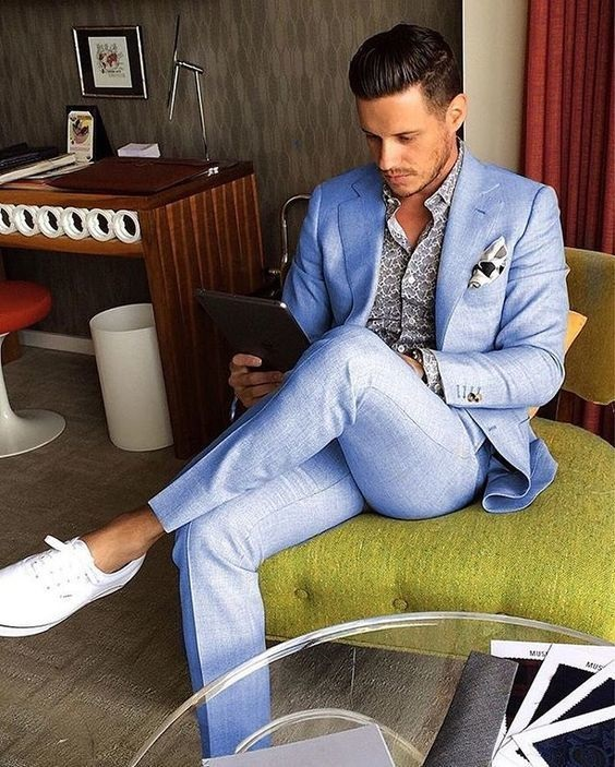 Men's Spring Suiting + Print Button Down, light blue suit and print button down shirt with print pocket square