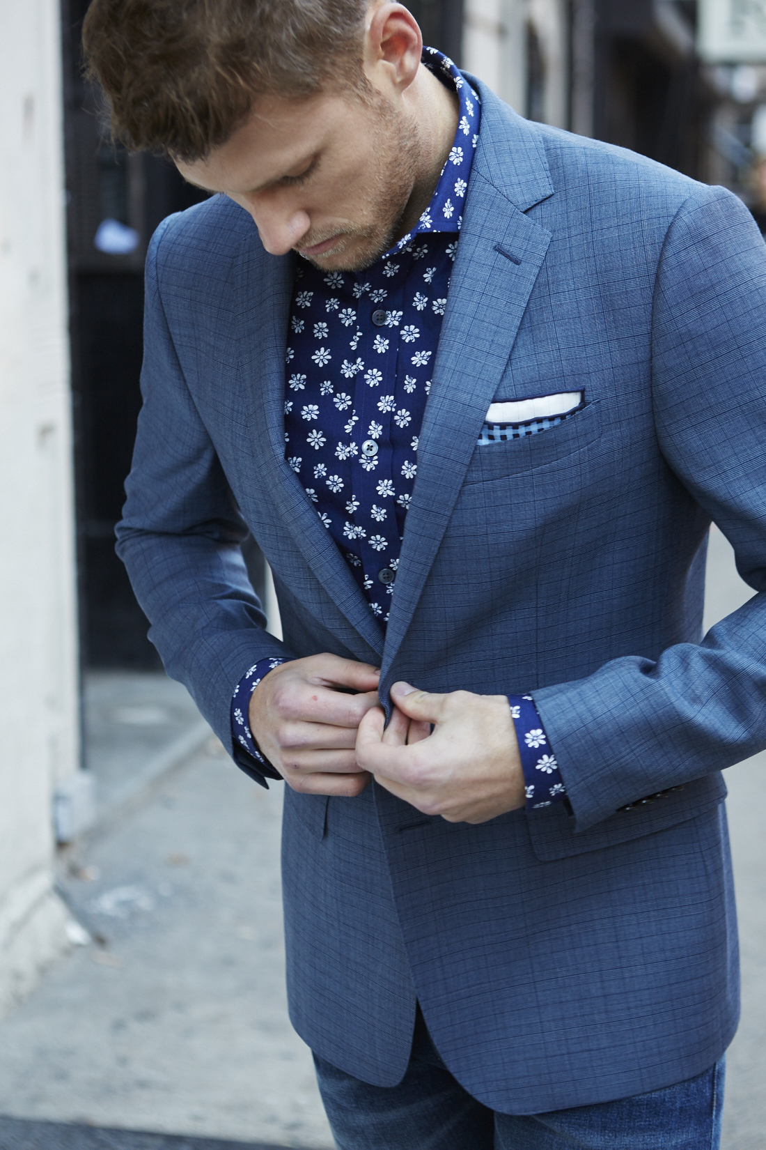 Men's Spring Suiting + Print Button Downs, blue suit with dark blue print shirt