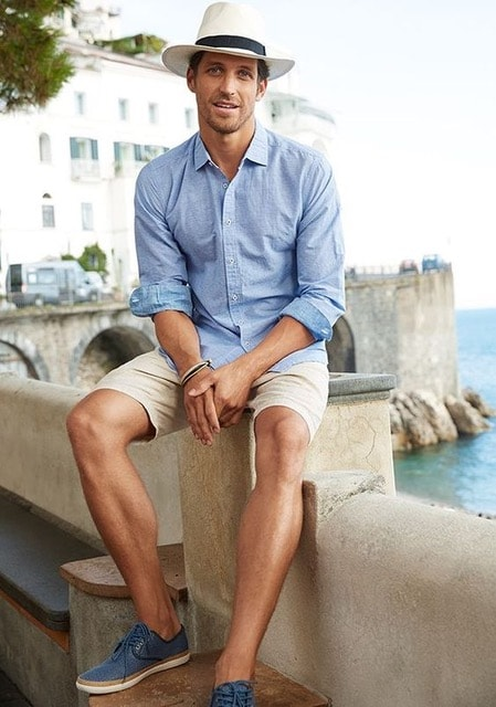 How to Stay Cool and Look Chic this Summer for Men, men's straw hat, button down, khaki shorts, and blue sneakers