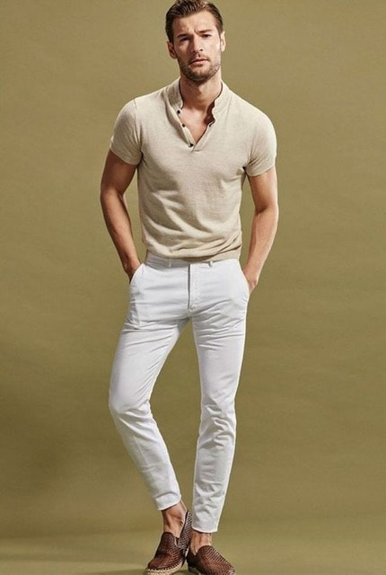 How to Stay Cool and Look Chic this Summer for Men, tan popover shirt, white jeans, brown slip on sneakers