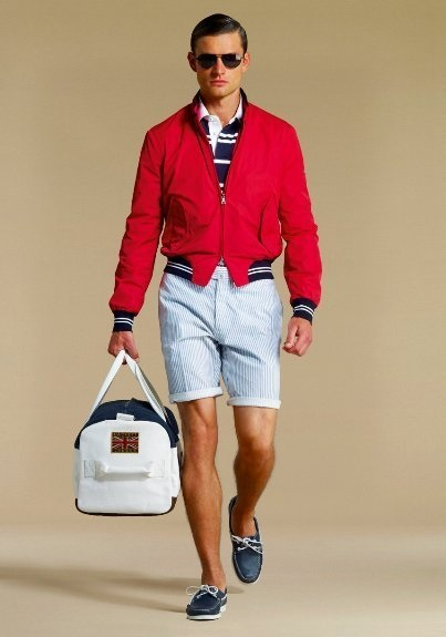 Red, White, and Beautiful Fourth of July Outfit, men's BBQ outfit, red bomber jacket with striped shorts