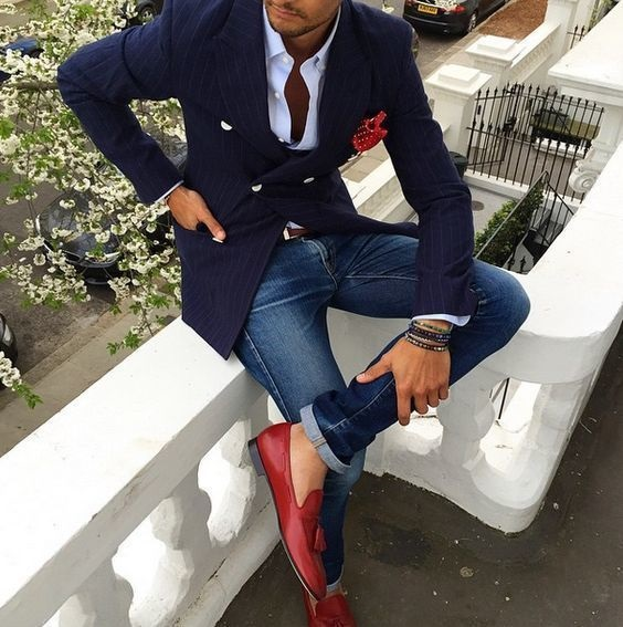 Red, White, and Beautiful Fourth of July Outfits, fourth of july party outfit for men, navy blazer, white button down shirt, and red loafers