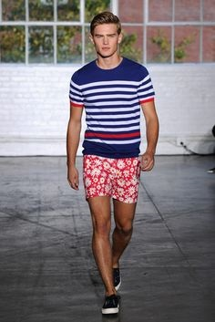 Red, White, and Beautiful Fourth of July Outfits, what to wear to pool party, men's striped polo shirt and red print shorts Parke and Ronan