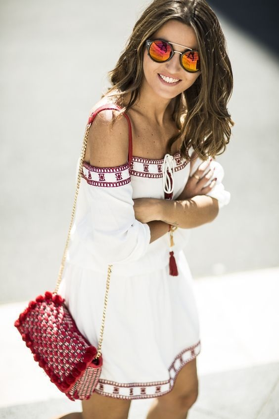 Red, White, and Beautiful Fourth of July outfits, BBQ outfit, white with red sundress and red woven purse