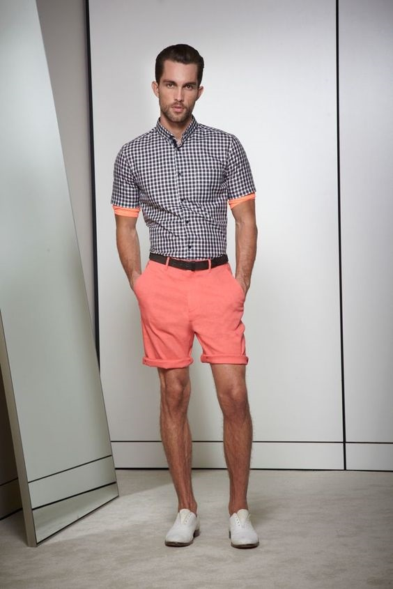 Summer Shirt Styles, Camp Shirt and Button-Ups, men's plaid print button up and peach shorts