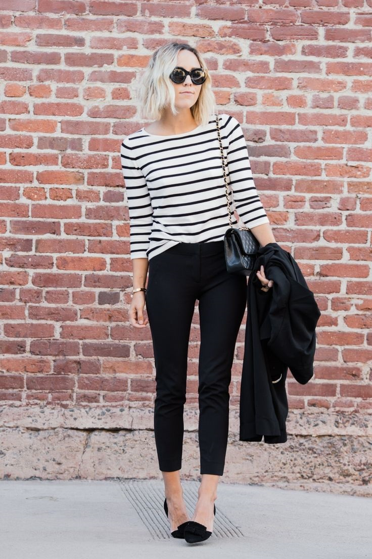 The Easiest Way to Take Your Look from Day to Night, denim, black and white striped top, flats