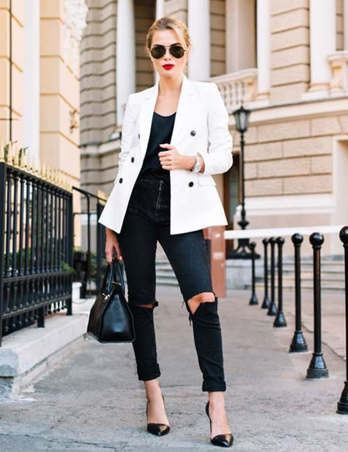 The Easiest Way to Take Your Look from Day to Night, denim, black jeans, black high heels, white blazer