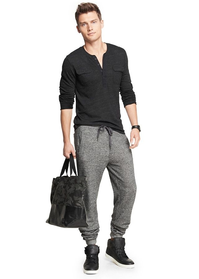 7 Things You Should Never Wear on a Date, men's athletic pants in gray