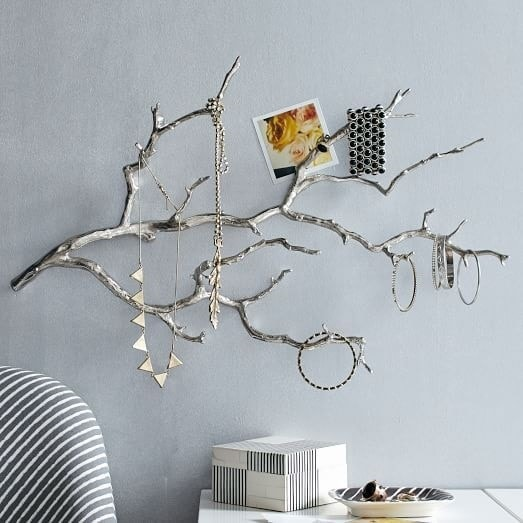 Jewelry Organization…Keep Your Jewels in Style, DIY jewelry holder, silver branches necklace holder