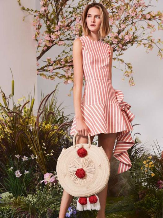 Easy & Chic Labor Day Looks, stripes + woven bag, Alexis red and cream cara dress