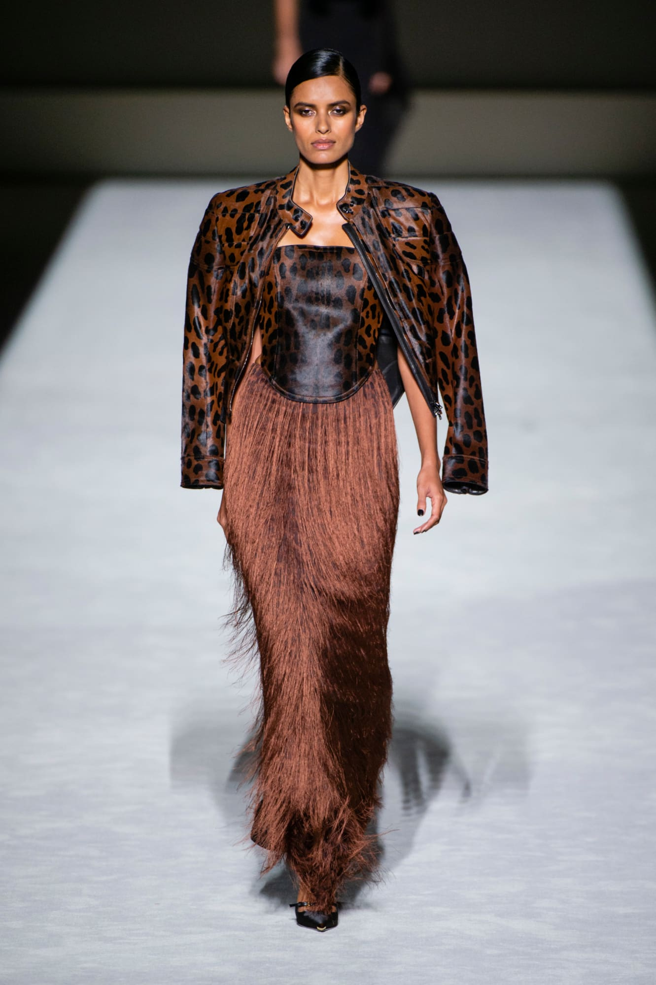 Tom Ford spring 2019 collection, animal print and fringe dress brown