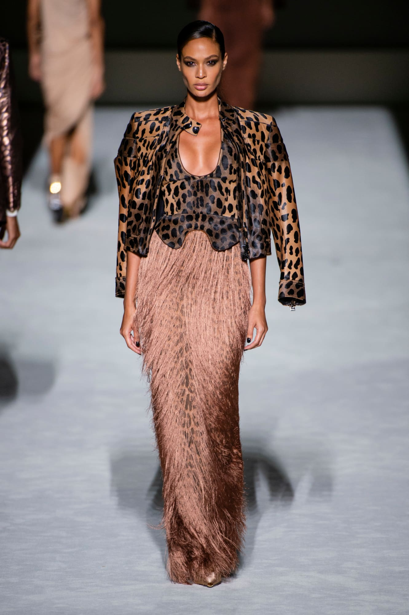 Tom Ford spring 2019 collection, animal print and fringe dress