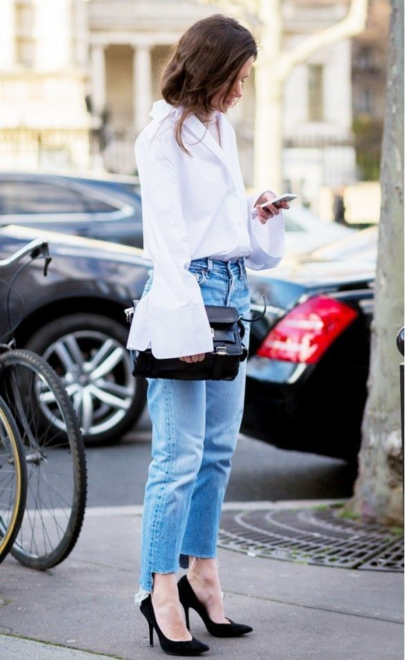 Fall's Hottest Denim Trends, high-low jeans, white button down flare sleeve shirt with high low jeans