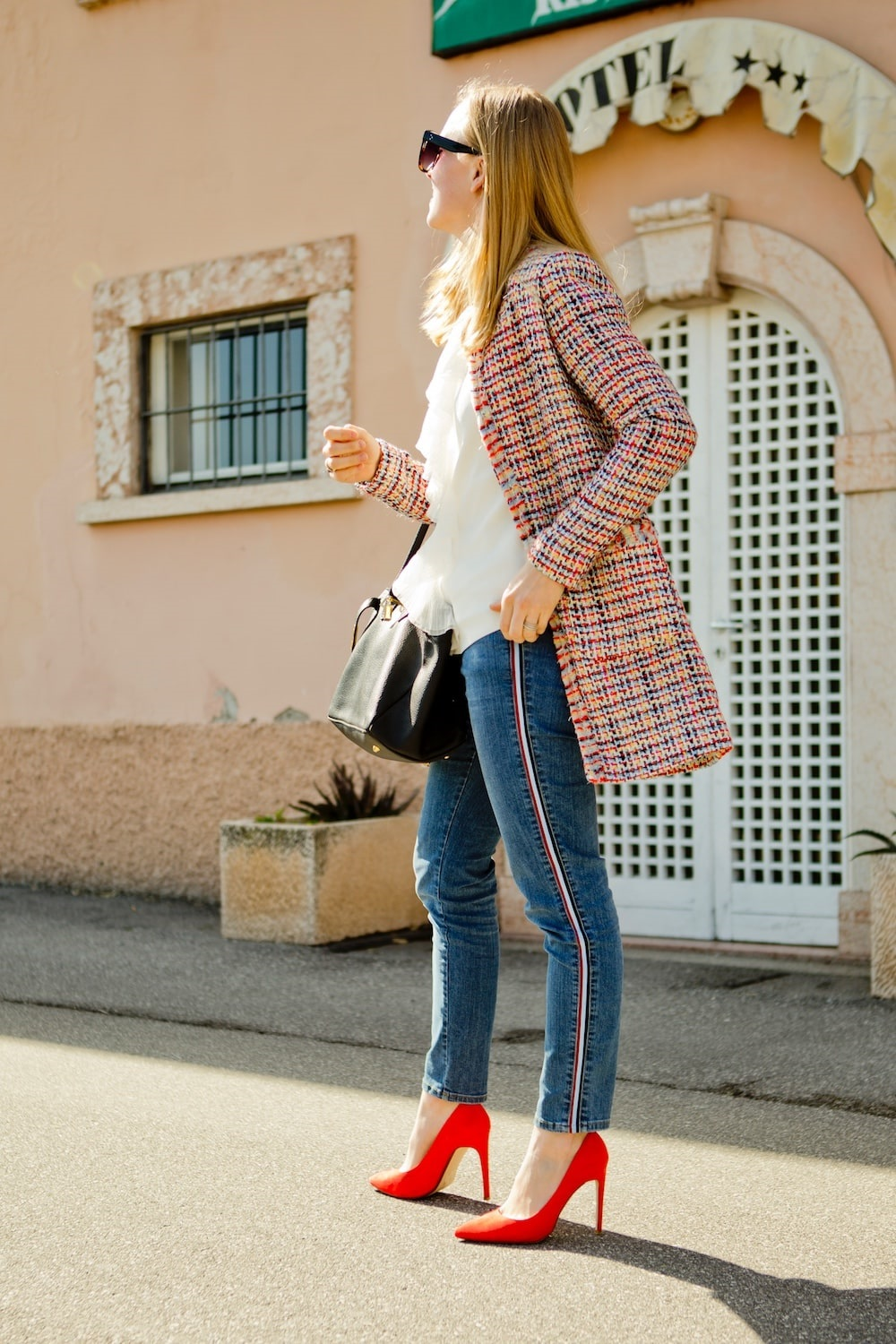 Fall 2018 Fashion Staples, denim with side stripes, jeans with side stripes, red pumps, tweed jacket