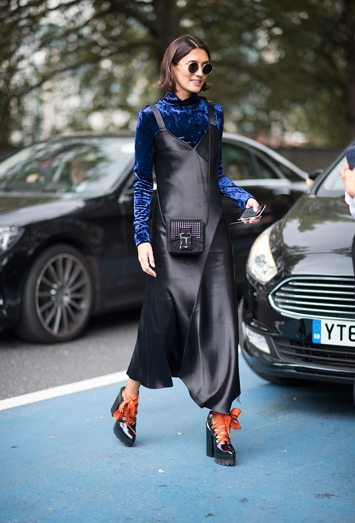 Fall Layering, blue velvet turtleneck, black leather long dress, orange lace tie black boots