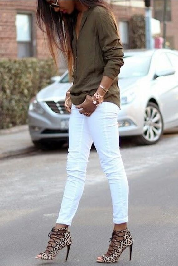 White Denim After Labor Day…You Can & Should, white jeans, olive sweater, leopard caged sandals