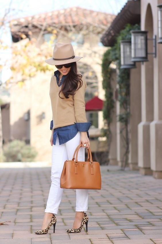 White Denim After Labor Day…You Can & Should, white jeans, chambray shirt, camel sweater, animal print high heels, hat