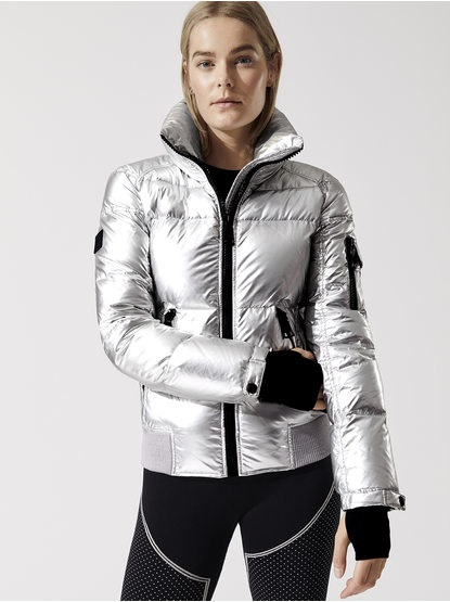 Women's workout gear, metallic puffer jacket, Carbon38 metallic freestyle bomber jacket