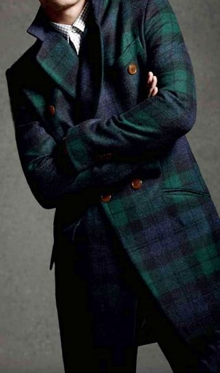 5 Stylish Coats that Completely Change Your Look Men, green and blue plaid coat with button up shirt