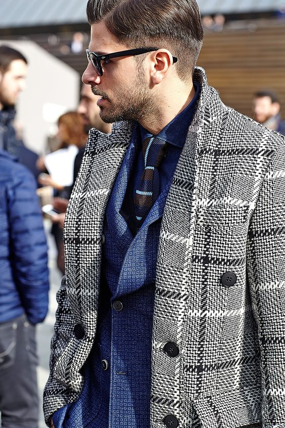 5 Stylish Coats that Completely Change Your Look Men, houndstooth overcoat, blue suit with gray and black houndstooth coat